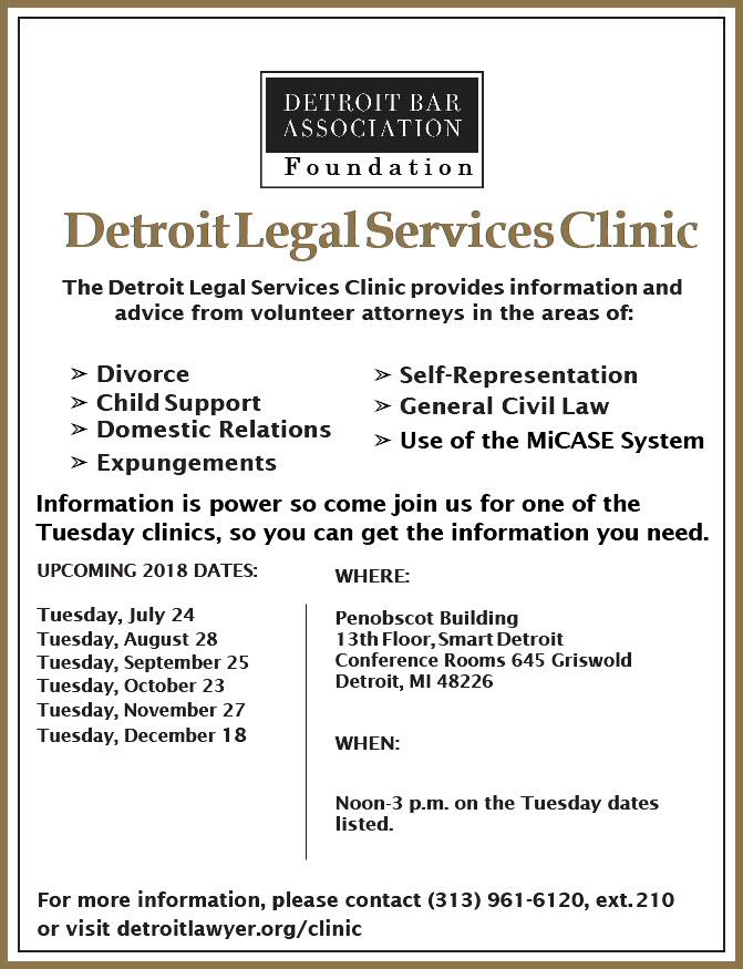 Detroit Bar Association Detroit Legal Services Clinic