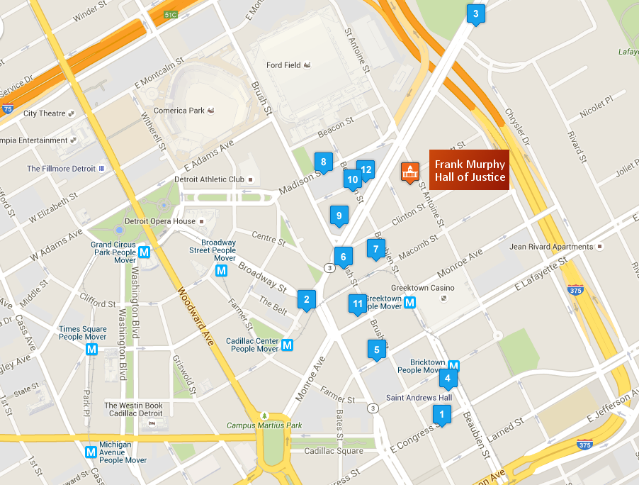 Parking Locations for Frank Murphy Hall of Justice